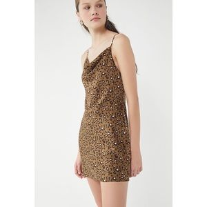 UO cowl neck cheetah print mini dress